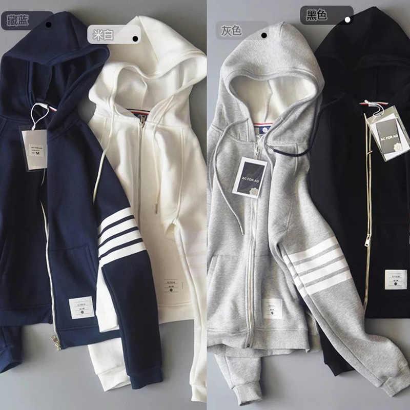 Nuovo TRAF L1116 moda in Europa e il vento con cappuccio ha portato a manica lunga di urto della banda di colore aggiungere lana vello cardigan abbigliamento
