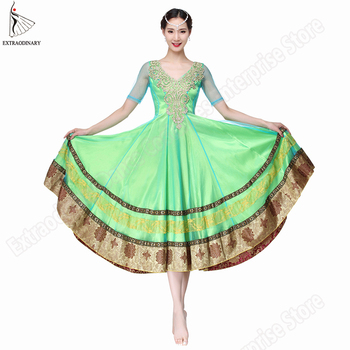 New Women Bollywood Belly Dance Costumes Indian Bellydance Dress Skirts Performance Backless Hand Embroidered Sleeve Long Skirt