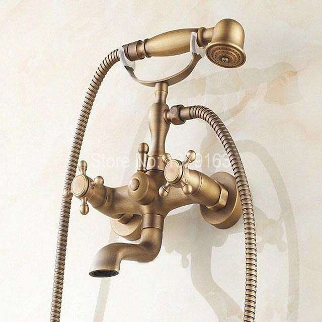 Dual Cross Handles Wall Mount Antique Brass Bathroom Tub Faucet