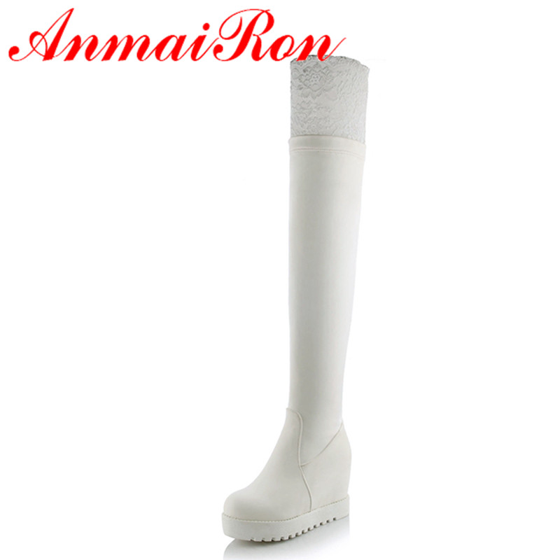 ФОТО ANMAIRON 2 Colors White Shoes Woman Lace Charms High Heels Over-the-knee Boots for Women Winter Warm Long Fashion Platform Boots