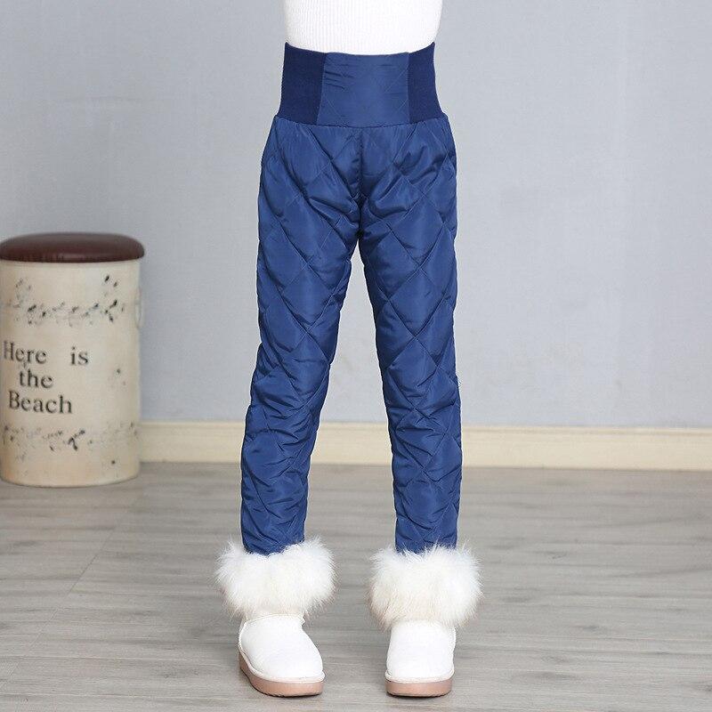 Pantalons enfants enfants filles pantalons hiver taille haute réchauffement coton pantalons épaissir vers le bas coupe-vent pantalons vêtements de plein air