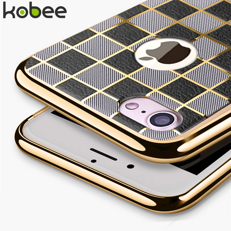 Kobee cuero del negocio de lujo case para iphone 7 7 plus cubierta de originales