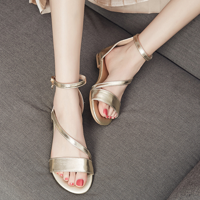 WETKISS Kích Thước Lớn 33-43 Chính Hãng Da Nữ Giày Nữ Phụ Nữ Dép Dây Đeo Mắt Cá Chân Dép Phẳng Giày Mùa Hè 2018 Nữ giày dép