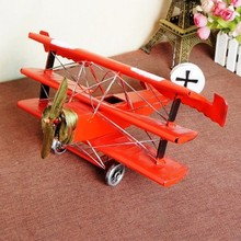 Big Vintage home decor creative plane model Home decoration accessories iron handmade crafts rustic Christmas gifts