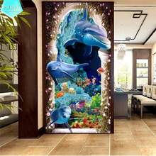 PSHINY 5D DIY Diamond embroidery sale Dolphin animal pictures complete Round rhinestones Painting new arrivals