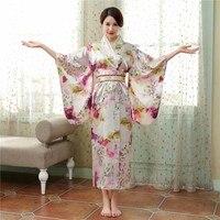 Vitnage Floral Japonés Tradicional Yukata Kimono Vestido de Impresión Del Nuevo Estilo de Las Mujeres Vestido de La Novedad Rendimiento Ropa Cosplay