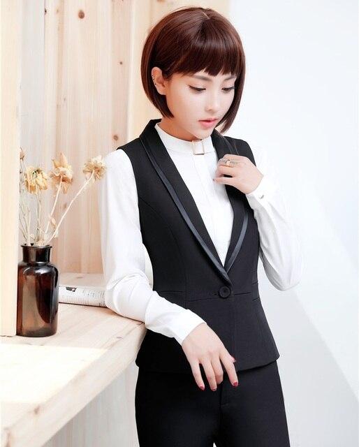 Formal Wanita Hitam Rompi Wanita Rompi Ramping Elegan Pakaian Kerja Kantor  Gaya Seragam 3a47a7aa48