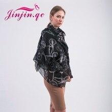 Jinjin. QC 2019 nueva moda Vintage mujer bicicleta bufanda imprimir bufandas y chales señora negro Llight azul y colores rosa