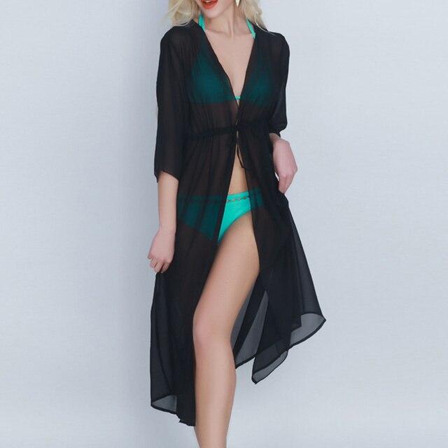 e0f79d89c928d Sexy Bikini Beach Cover Up Chiffon Robe Plage Waist Tie New Women Kaftan Dress  Pareos Swimwear Tunic pareo Swimsuit Cover-ups