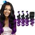 Predazzle 8A Body Wave Ombre Purple Brazilian Virgin Hair with Closure 3 Bundles Brazilian Hair Two Tone Human Hair Purple Hair