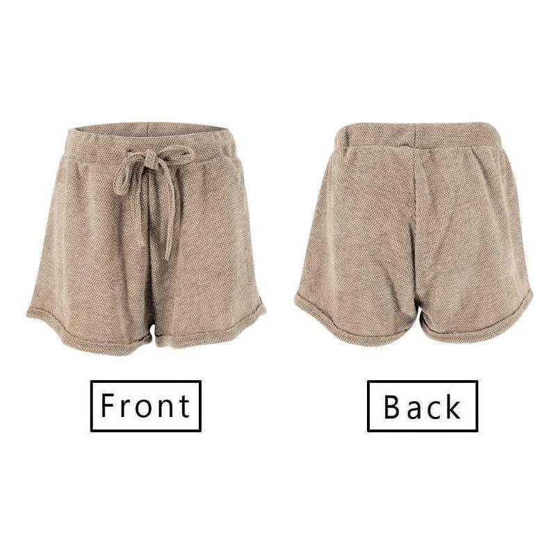 Mulheres Da Praia do Verão 2019 Calções de Lazer Elástico Sólido de Alta Cintura Solta Calças Curtas Lace up - 4