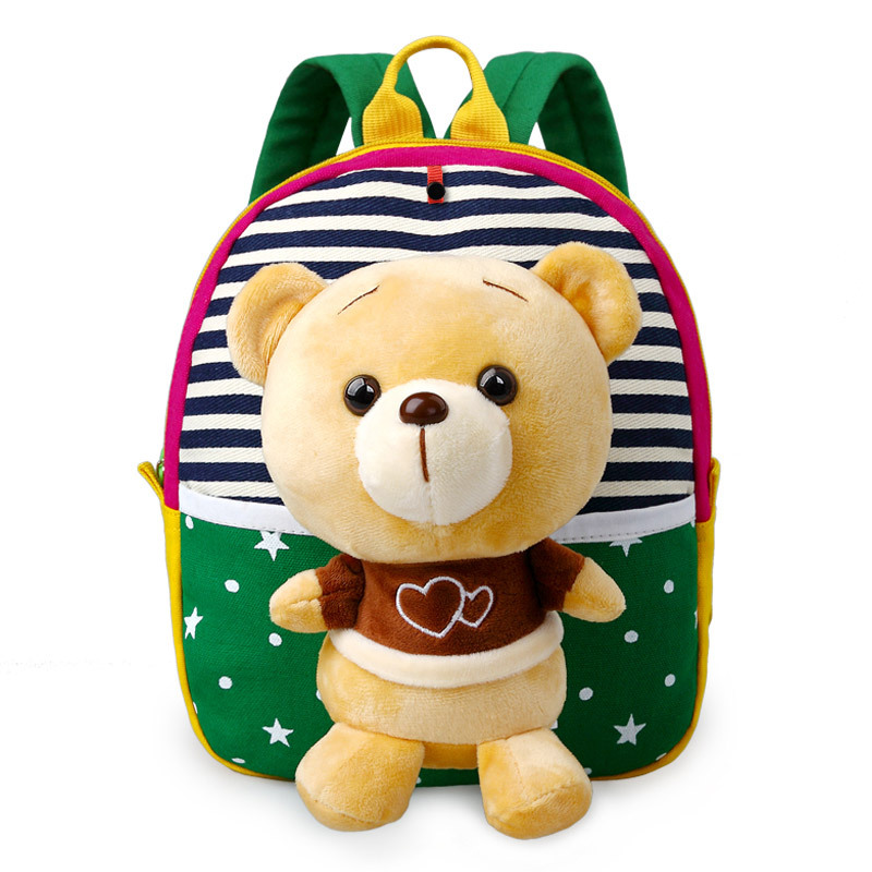 2017 Baby Children 3d Cartoon Bear Character Canvas School Bags For Kids Gifts Animal Toys Shoulder School Rucksack Backpacks