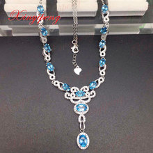 925 silver inlaid ms topaz stone necklace pendant jewelry A wedding gift
