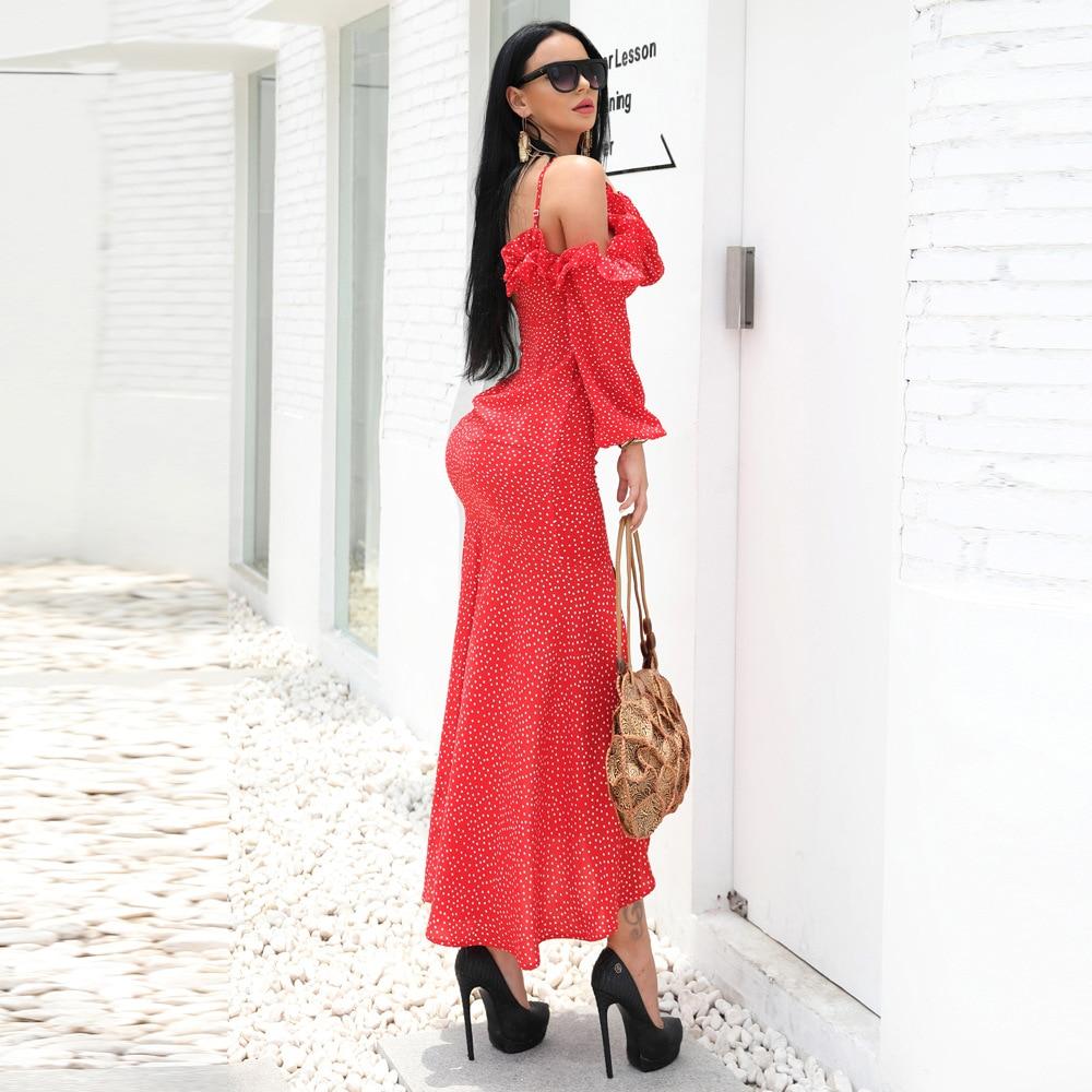 Robe Robe De Élégant Point Sexy L'épaule Partie 2018 Summer Rayonne Homeciming Fantaisie Femmes Volants Et Halinfer Costumes À New HUnzxX