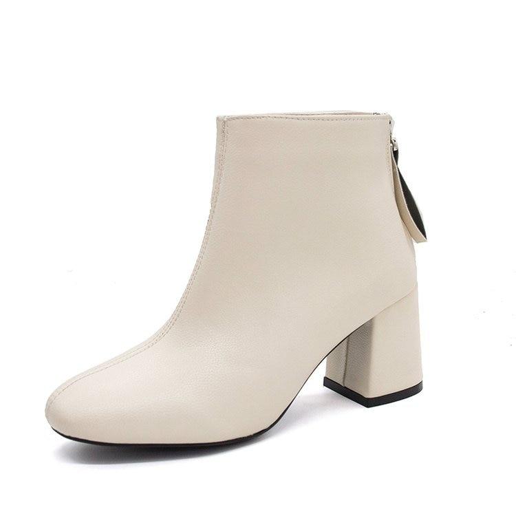 Mode Pu Plate forme Bout Zip Chelsea gris Taille Bottines Vintage Chaussures Noir Talon Solide Des Bottes Carré Haute Automne 2018 Grande blanc Femmes 0w8OPknX