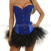 New Blue Sequin Burlesque Boned Overbust Outerwear Corset Bustier Sexy Costume Black TuTu Skirt S M
