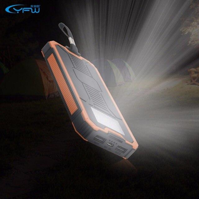 YFW 12000 мАч Солнечная Энергия Банк Dual USB Poverbank Портативное Зарядное Внешняя Батарея Универсальный Powerbank Для Кемпинга Свет SOS