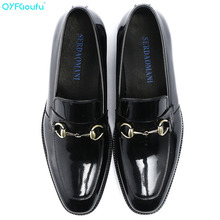 Luxury Patent Leather Shoes Men Square Toe Genuine Formal Fashion Slip On Dress Wedding