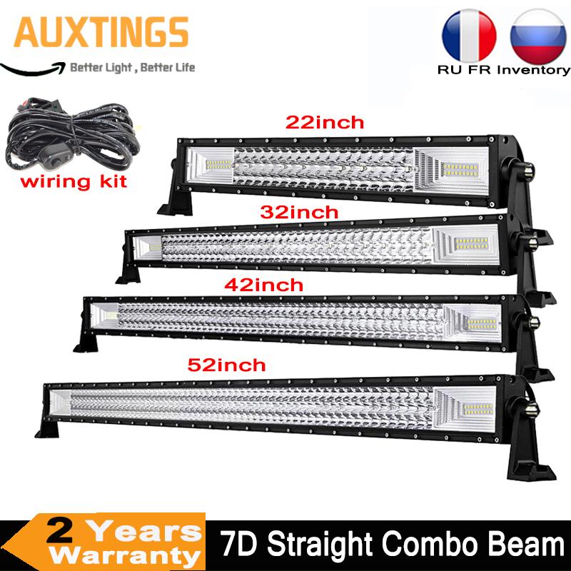 22 32 42 52 inch 7D LED Light Bar Offroad 4x4 Combo Beam Led Work Light Bar 12V 24V Tractor Boat Off Truck SUV ATV 4WD Led Bar