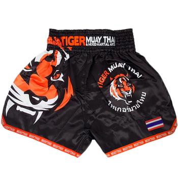 MMA Tiger Muay tajski boks boks mecz Sanda szkolenia oddychające spodenki muay thai odzież boks tygrys Muay Thai mma tanie i dobre opinie suotf COTTON Poliester Pasuje prawda na wymiar weź swój normalny rozmiar Zwierząt trunks boxing shorts