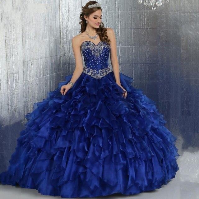 Azul Royal Masquerade Ball Vestido Inchado Vestidos Quinceanera Meninas Espartilho Linha De Organza Doce 16 vestidos vestidos de 15 años