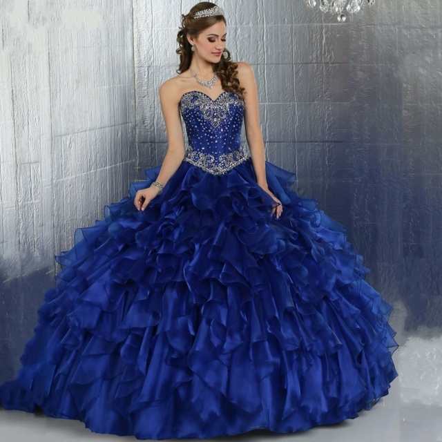 b8fdf241b3 Royal Blue Masquerade Ball Gown Puffy Quinceanera Dresses Girls Corset  Organza Online Sweet 16 Dresses vestidos
