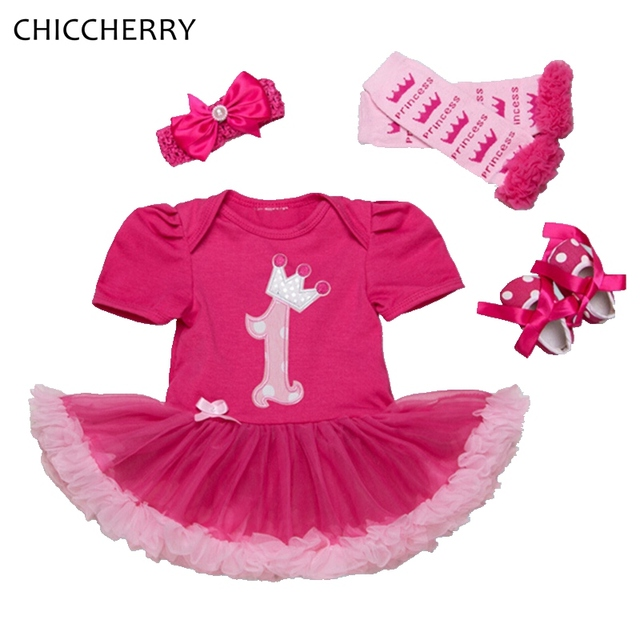 Baby Girl primero Cumpleaños Vestido de Encaje Traje de Mameluco Diadema Pierna calentadores de Zapatos del Pesebre Juegos Tutú Recién Nacido Conjunto Infantil Ropa De Bebe