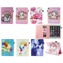 Case For Ipad Pro 9.7 Case Cover Cartoon unicorn baby flamingos Fashion Stand Wallet Flip Card Holders PU Leather Tablet case
