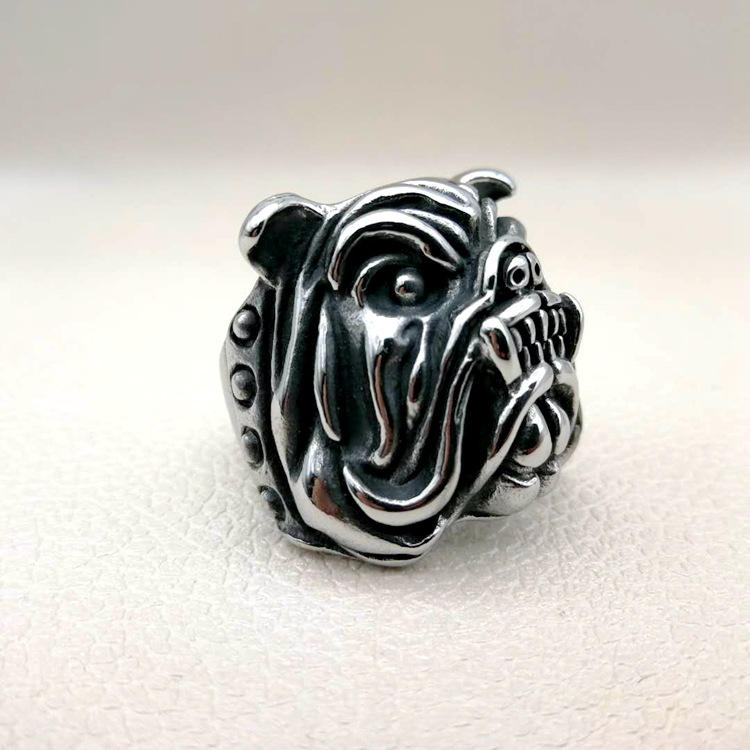 Drop shipping Wholesale 7 to 15 size Exaggerated Ring Pit Bull Bulldog Dog Rings Men Personality Titanium Steel Animal Jewelry