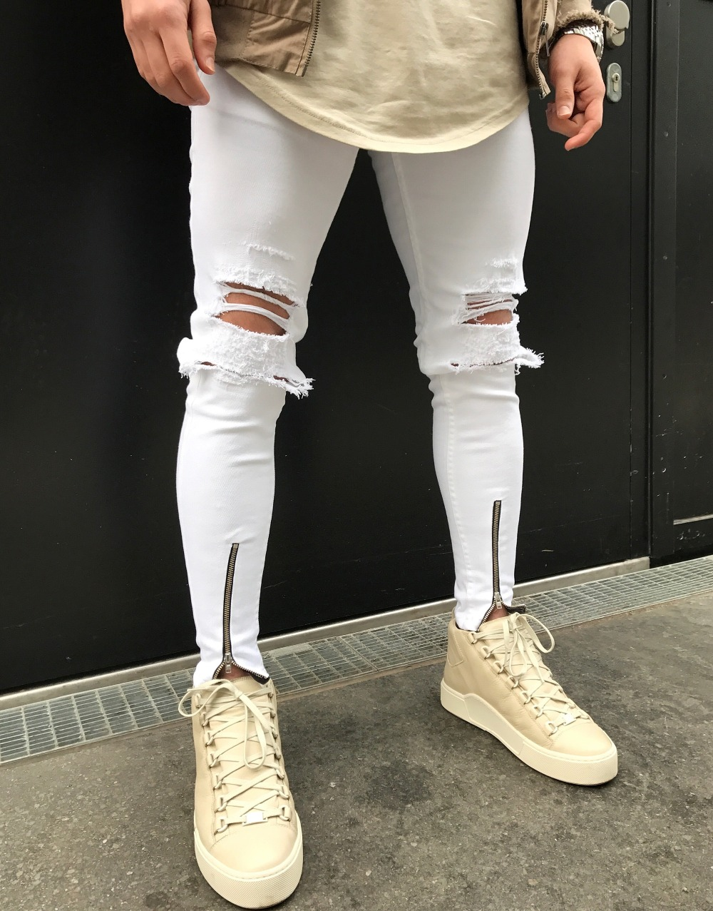 Jeans Men Europe and America Mens Jeans Zipper Slim Mens Skinny Jeans Hole