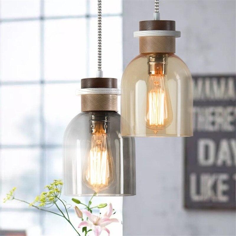 Edison Лофт стиль промышленный винтажный светодиодный подвесной светильник, деревянные стеклянные одиночные подвесные лампы, ретро освещени...
