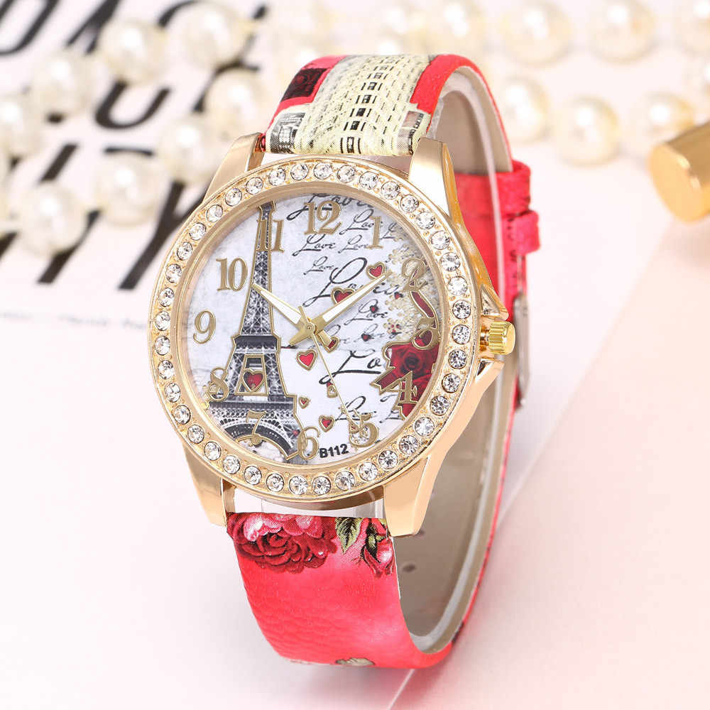 NEW Eiffel Tower ผู้หญิงสุภาพสตรีนาฬิกาเข็มขัดพิมพ์คริสตัลควอตซ์นาฬิกาข้อมือ чаы жнс reloj mujer zegarek damski saat montre femme