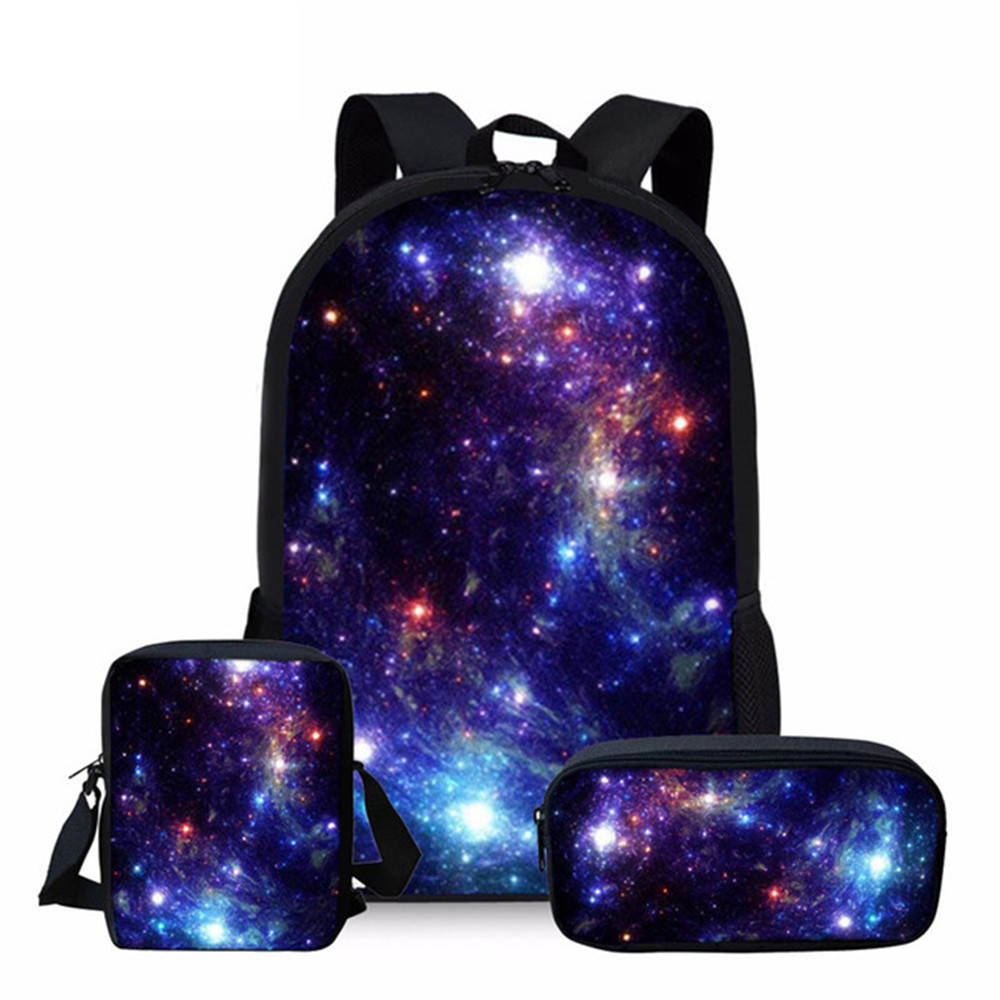 INSTANTARTS Multicolor Galaxy Star Space School Bag For Teenager Girl Boy Children Kids School Backpack Large Shoulder Book Bags