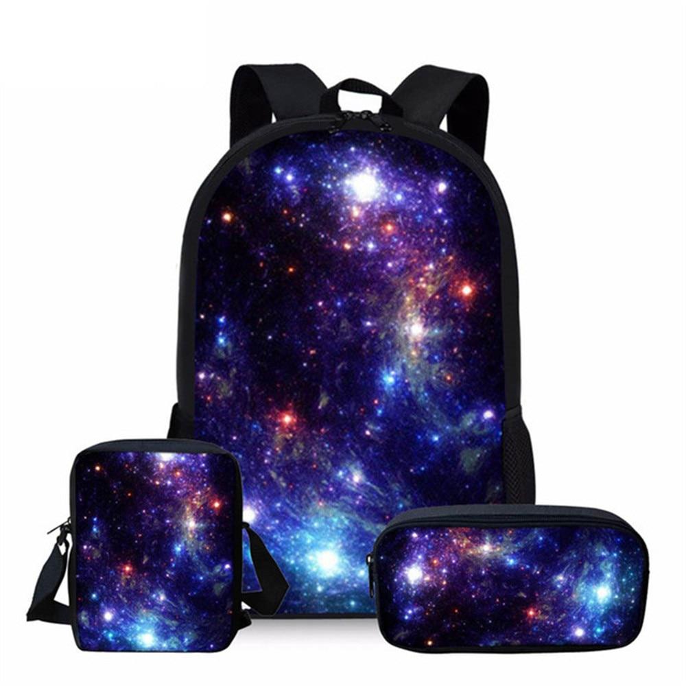 INSTANTARTS Multicolor Galaxy Star Space School Bag For Teenager Girl Boy Children Kids School Backpack Large Shoulder Book Bags