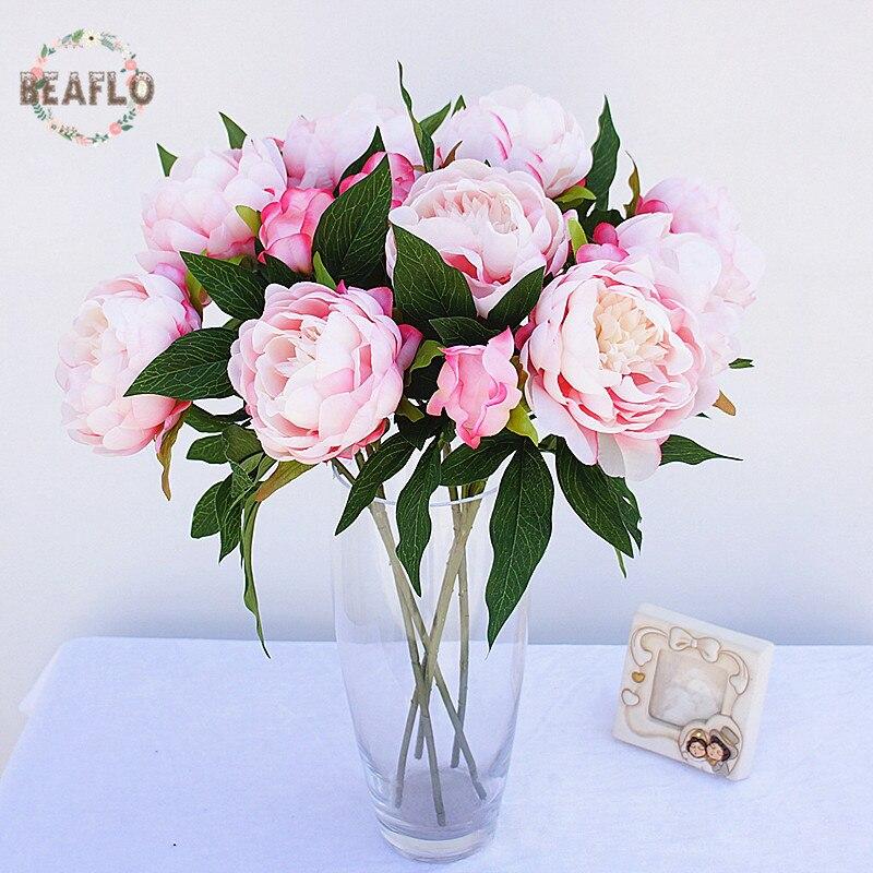 1 UNID 3 Cabezas Peony Ramo Floristería Hogar de La Flor Artificial Del Banquete