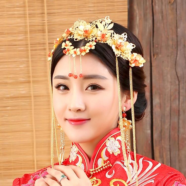 Xin Fu Traditional Chinese Wedding Bride Hair Tiaras for Xiuhefu Hair Accessory Set for Costume 00009 red gold bride wedding hair tiaras ancient chinese empress hair piece