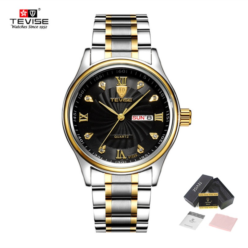 TEVISE Mens Watches Quartz Waterproof Male Clock Brand Luxury Stainless Steel Gold Date Watch Men Wristwatch relogio masculino