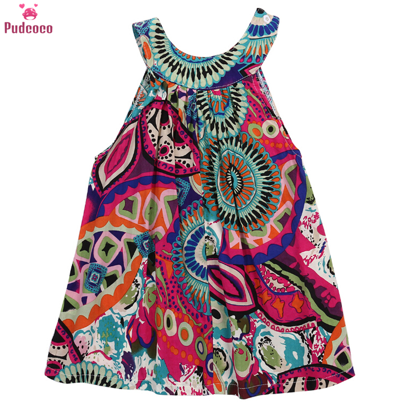 Pudcoco Kids Little Girls Dresses Toddler Printed Flower Baby Girl Sleeveless Party Tutu Summer Mini Dress 3 To 7 Years