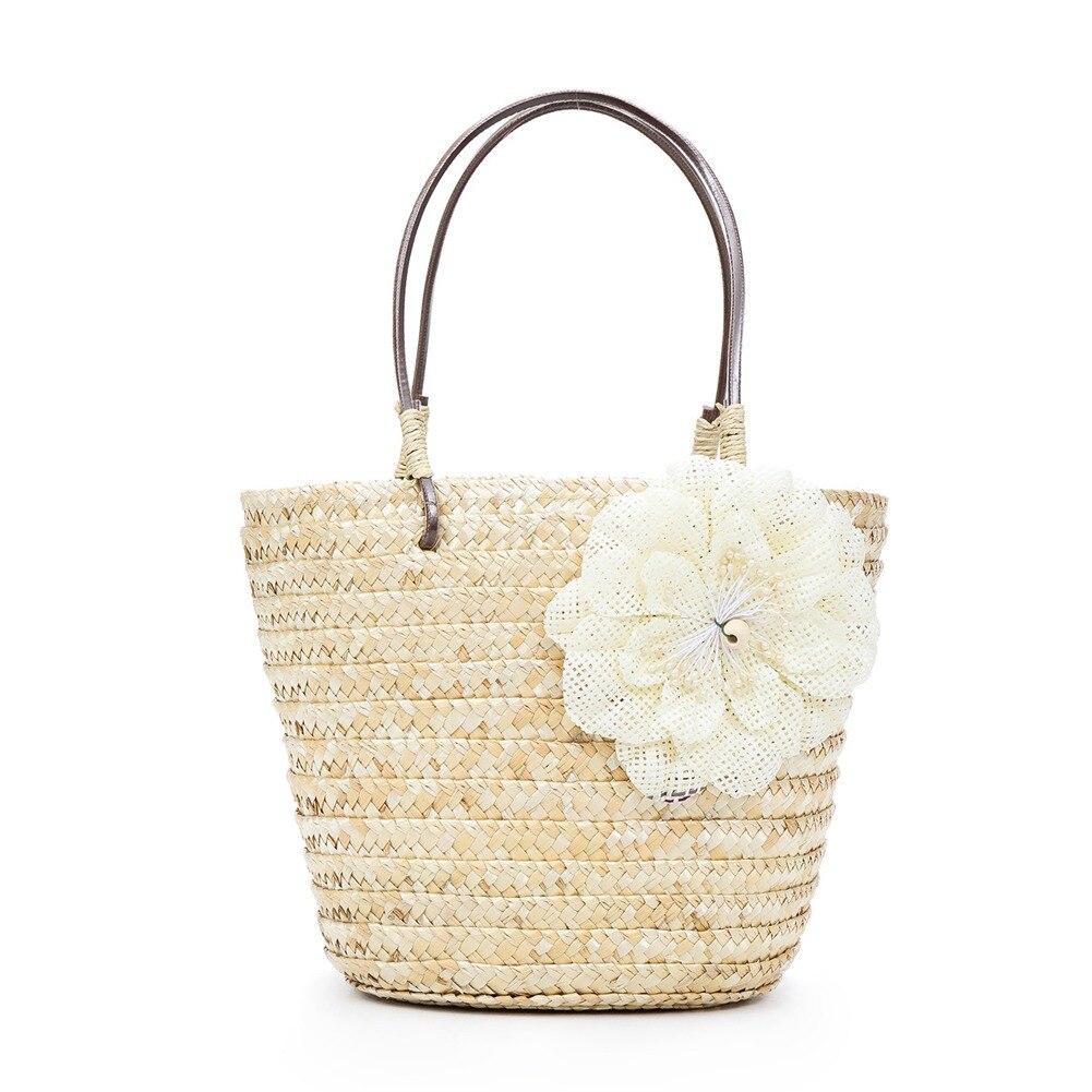 2018 Bohemian style Women Flower Straw Handle Work Shoulder Bag Summer Beach Holidays Handbag BS88 tote bags for work