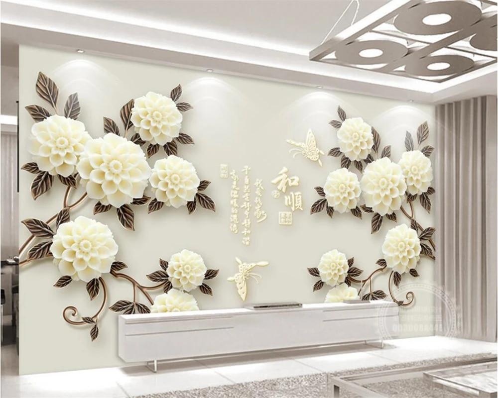 Beibehang Wallpaper Kustom 3d Stereo Bunga Suya Dan Shun Sederhana TV Latar  Belakang Rumah Dekorasi Background 3D Wallpaper Mural|custom Wallpaper| Background 3d3d Wallpaper Murals - AliExpress