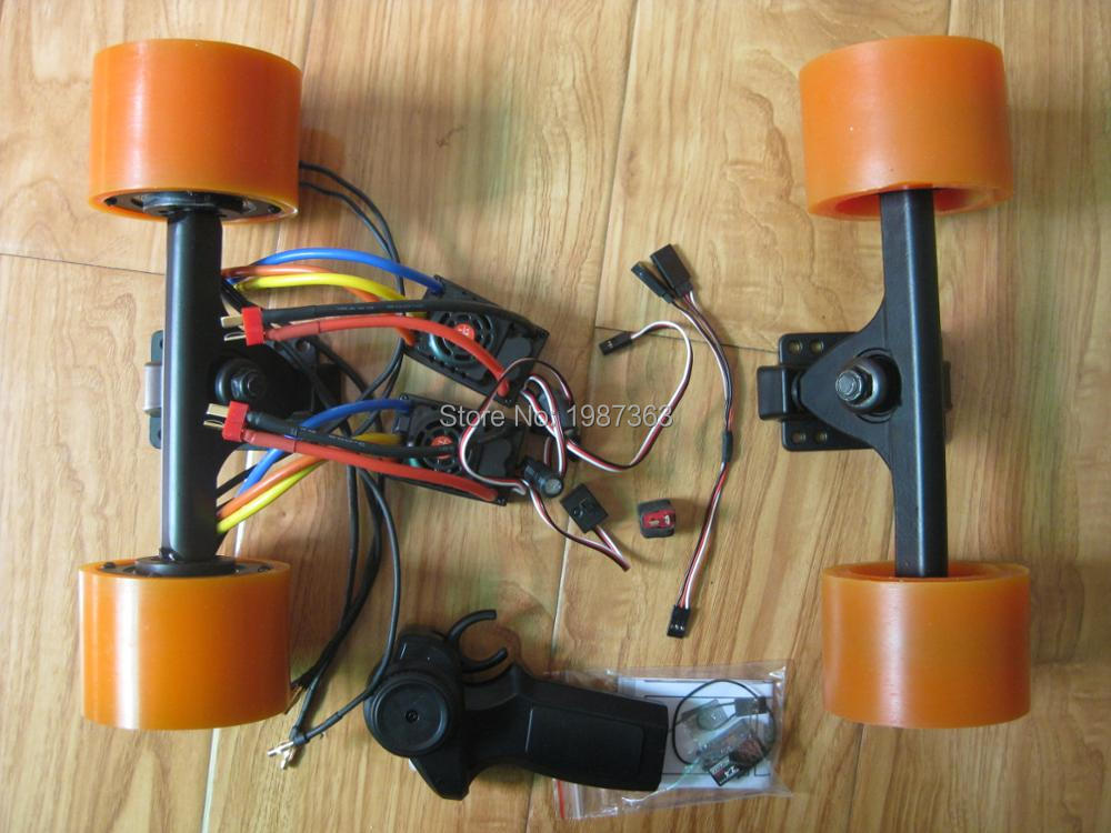 1500W Electric Skateboard DIY Kit Dual Hub Motor + 2x ESC + 1x Mini Remote + Front Truck