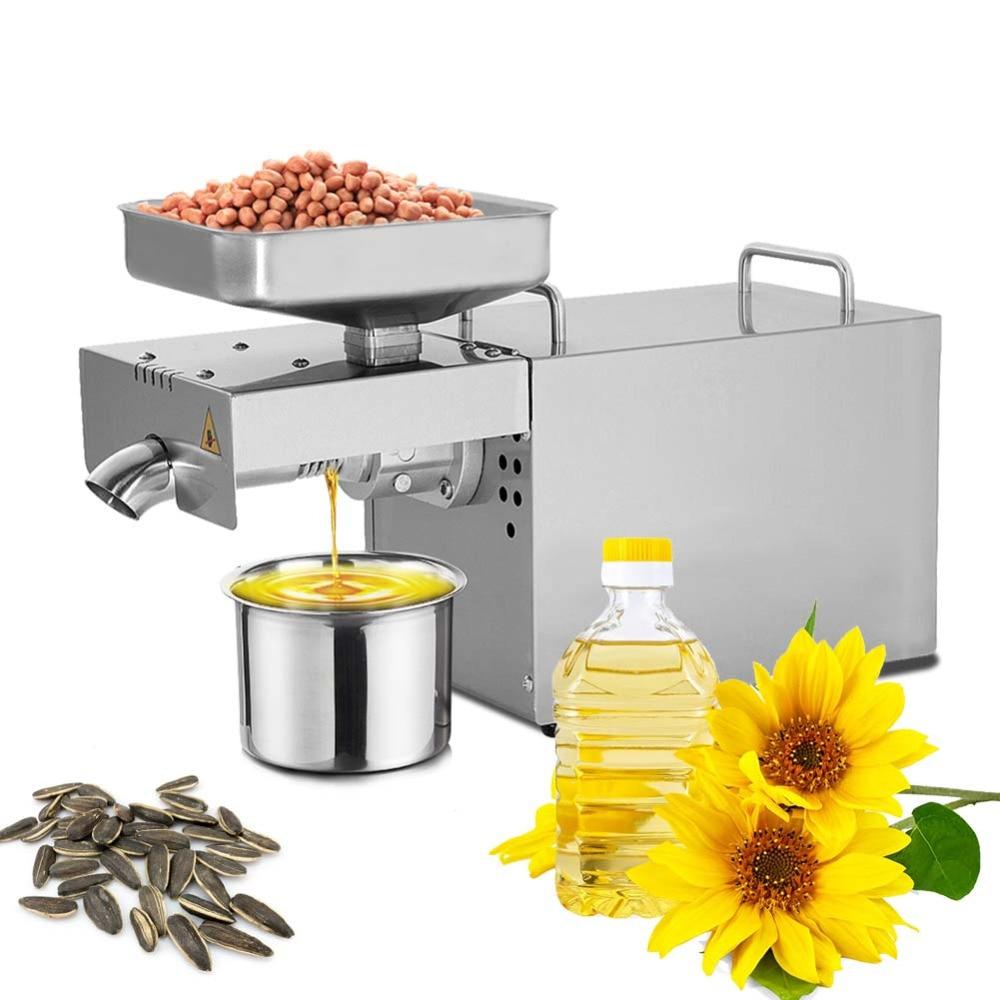 220V/110V Small oil press Heat Cold home oil press machine pinenut cocoa bean olive oil press machine high oil extraction rate