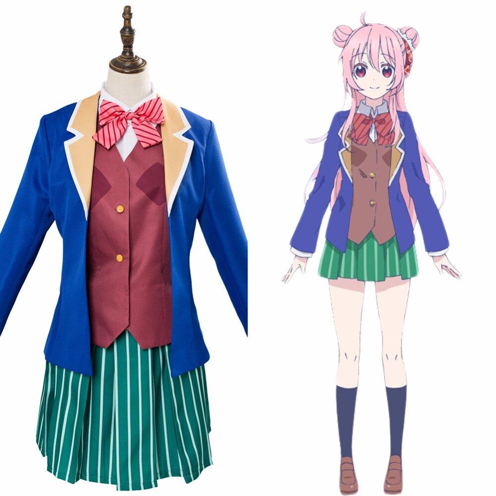 [STOCK] 2018 Anime Happy Sugar Life Satou Matsuzaka School Uniform Cosplay Costume Full Set For Women Halloween Free Shipping