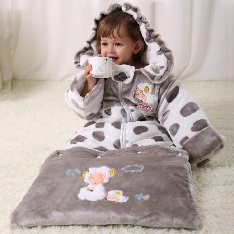 Flannel Newborn Sleepsacks Fleece Thick Baby Blankets Dot Sheep Infant Robes Hoodies Boys Envelope Sleep sack Girls Sleeping Bag