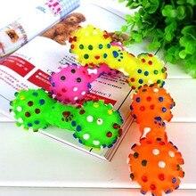 Игрушки для собак яркий в горошек гантели в форме игрушки для собак сжимаемые пищащие искусственная кость жевательные игрушки для питомцев для собак