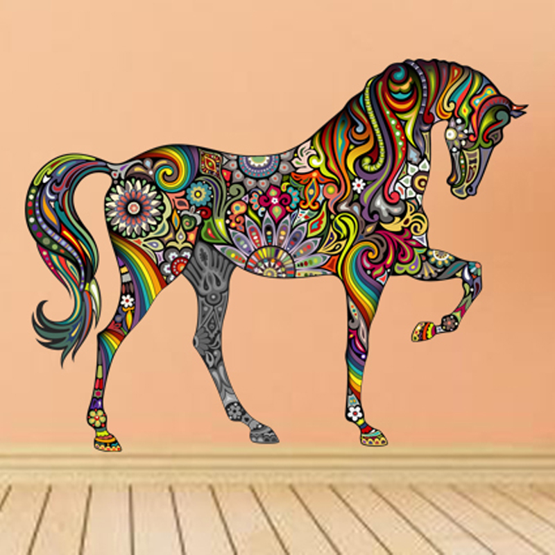 Creative colorful animal horse wall sticker mural art for Creative mural art