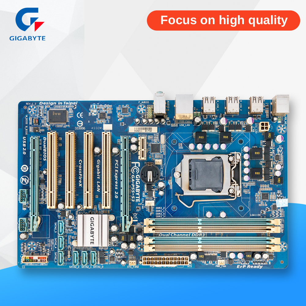 Gigabyte GA-P55-S3 Original Used Desktop Motherboard P55-S3 P55 LGA 1156 i3 i5 i7 DDR3 16G ATX asrock h61m vg4 original used desktop motherboard h61 socket lga 1155 i3 i5 i7 ddr3 16g usb2 0 micro atx