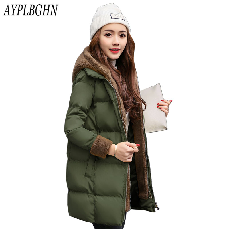 2017 Winter Fashion Women Jackets Long Design Cute Cotton Padded Coats Causual Warm Hoodies Loose Padded   Parkas   Plus size 7L87