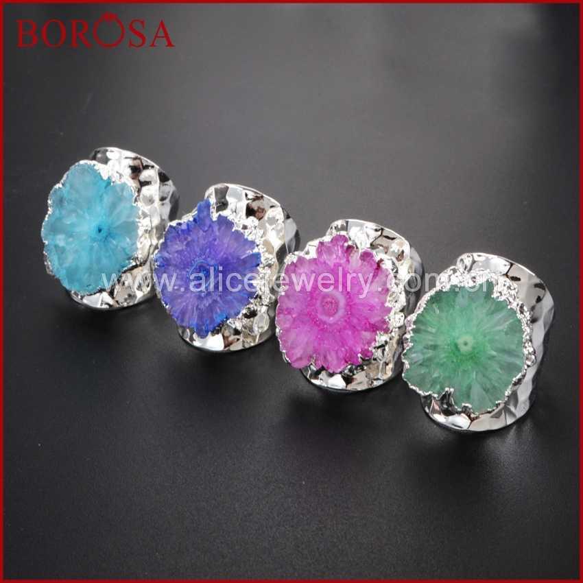 BOROSA 5Pcs Rainbow Silver Color Sun Flower Quartz Stone Ring Druzy Bang  Rings f98078d4cac3