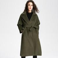 Новый 2017 перечислены европейских и американских женщин модная зимняя одежда шерстяное пальто однотонный выразительный стиль пальто черны